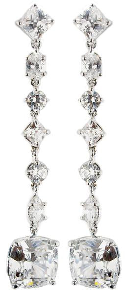 Earring Post Mlt Shape Cz Drops Csh Cut Cz