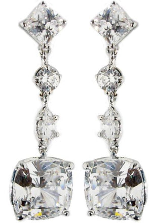 Earring Post Sq Rd Mq Cushion Cut Cz Drop