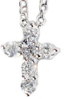 Link Small Prong Set Round Cz's Cross Pendant