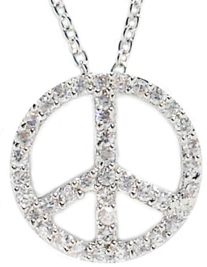 Link Pave Cz Peace Sign Pendant