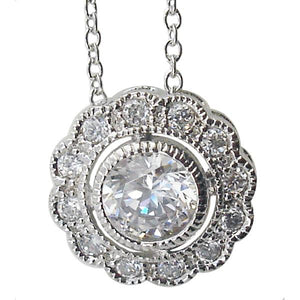 Link Pave Cz Flower Pendant with Rd Ctr Cz in Brass Base