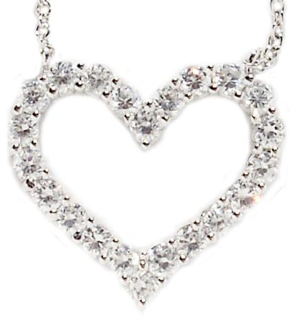 STERLING SILVER OPEN HEART PENDANT EMBELLISHED WITH CUBIC ZIRCONIA STONES ALL AROUND