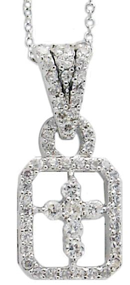 Link Pave Open Em Pendant with Ctr Cross