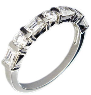 Ring Band Sq Rd Cz's with Rec Bars