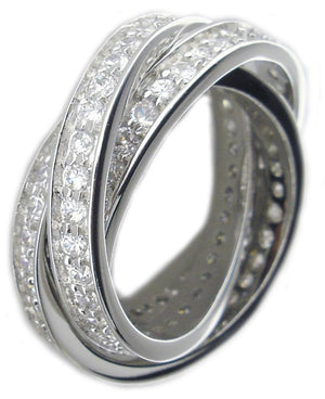 Triple Rolling Pave Cz Ring