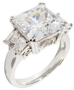 Ring Emerald Cut Ctr Cz Side Cz's in S/S