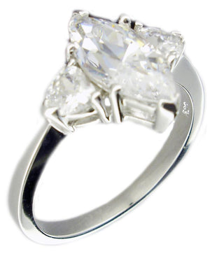 Ring 2Ct Mq Ctr Cz Side Cz's