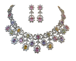 Couture cluster Pastel flowers all around Zirconite Necklace