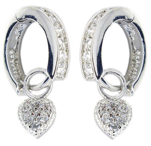 Earring Huggie Chn Set Rd Cz Pave Ht in S/S Rhodium