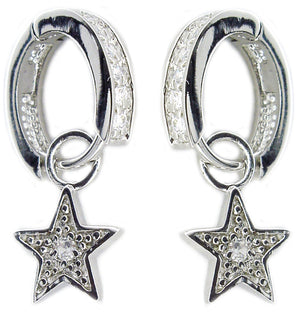 Earring Channel Set Rd Cz's Hugguie Pave Star Drop
