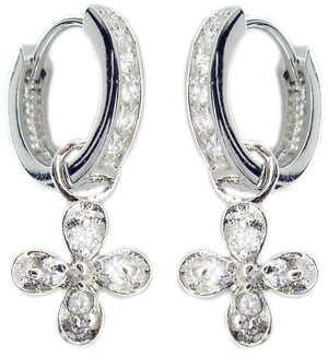 Earring Huggie Chn Set Rd Cz Rd Cross in S/S Rhodium