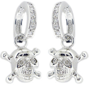 Earring Huggie Chn Set Rd Cz Skull in S/S Rhodium
