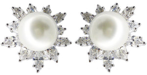 Sterling Silver French/Clip/Post Marquise Zirconite Set Earrings