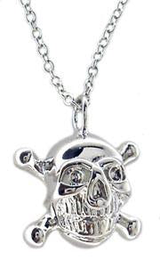 Sterling silver Skull Pendant on classic Link chain Rhodium Electroplated.