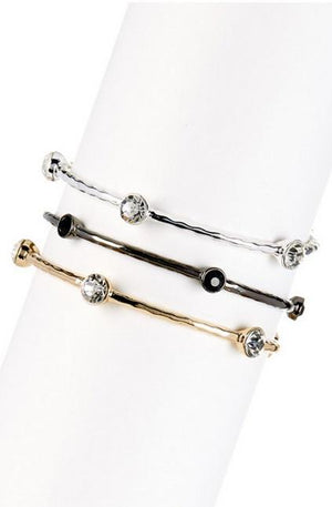 Three set electroplated hammered bangles with round crystal stone stations