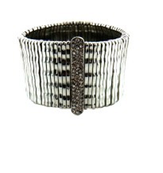 Stretch Wide Bracelet With Pave Crystal Bar