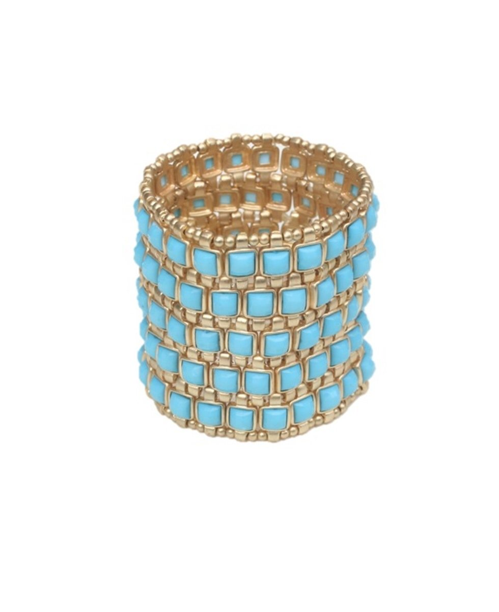 Five Rows Gold Beads Stretch Bracelet