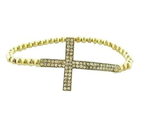 Gun Metal Plated Cross Crystal Bracelet - Gold