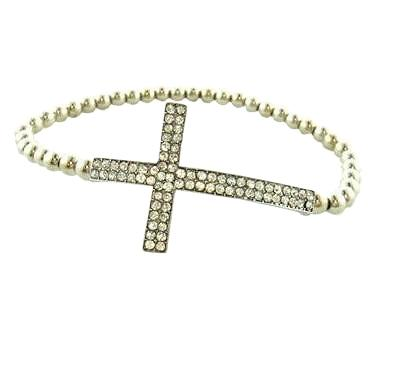 Gun Metal Plated Cross Crystal Bracelet