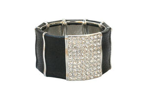 Wide Stretch Leatherette Bracelet Embelished
