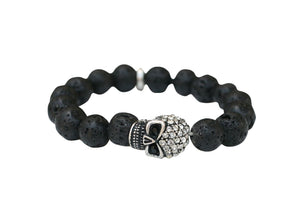 Pave Skull Stretch Bracelet-Black