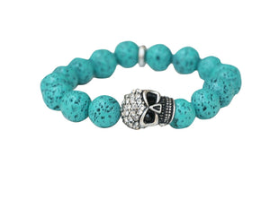 12mm Fossil style Beads with Crystal Pave Skull Stretch Bracelet