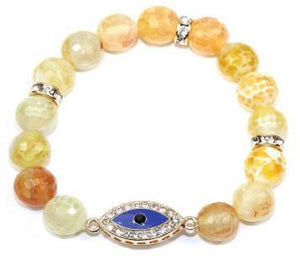 10mm genuine Mano marbel beads tones w/Protective energy Eye crystal jeweled in-line charm
