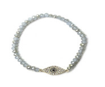 4MM Crystal Jeweled Eye Shaped Center Stretch Bracelet
