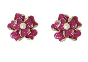 Color Flower Earring - Pink