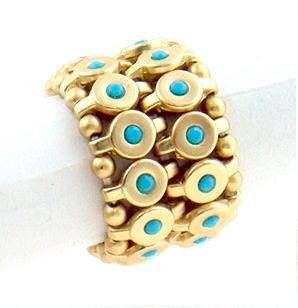 Stretchable 2-Row Disc Ring with crystal stone embedded centers