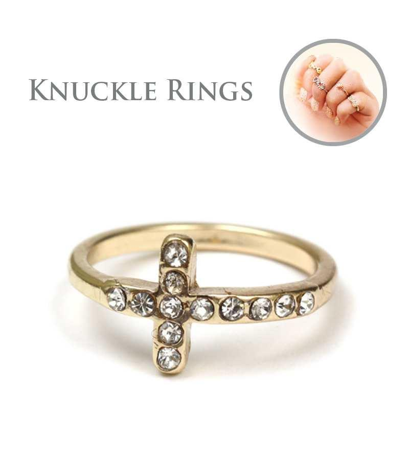 Sideway pave cross knuckle Mid ring