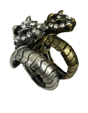 Stretchable Oxidize Pave Panther Wrap Ring