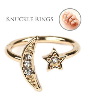 Moon and star knuckle mid ring