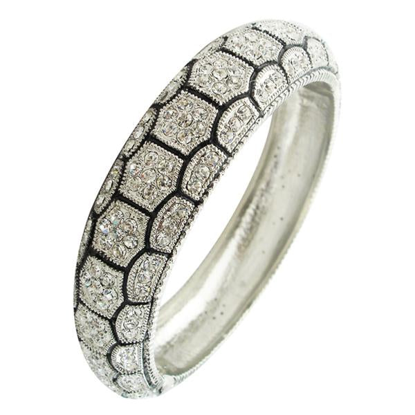 Crystals Hinged Dome Bangle
