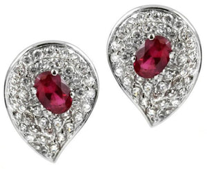Tear drop Pav'e Zirconite set Post earrings
