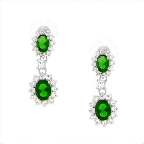 Couture Double Oval centers drop Halo Zirconite Post Earrings