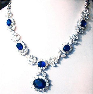 Couture Oval  center Halo Zirconite Necklace