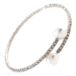 Genuine Czech open pearl ends one row Bangle