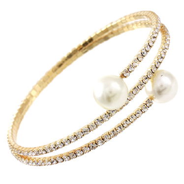 Genuine Czech open pearl ends two row Bangle