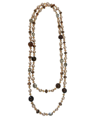 "60"" Long pearl and color stone crystal necklace"