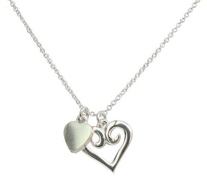 Small Heart Rhodium Electroplated Polished Pendant