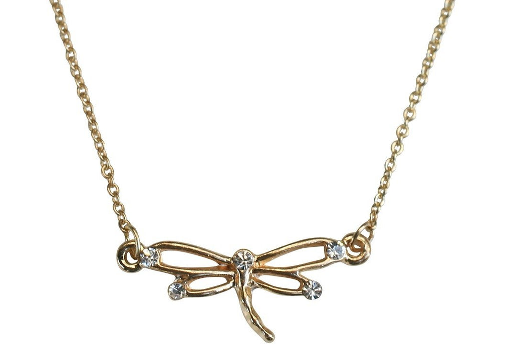 Crystals Dragonfly Electroplated Polished Necklace