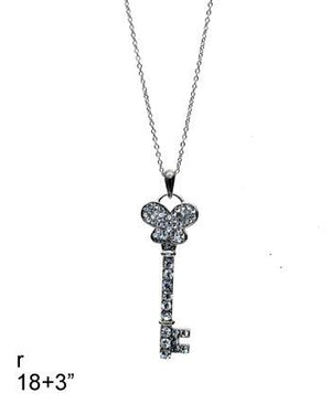 Key Pendant Necklace - Black Tone