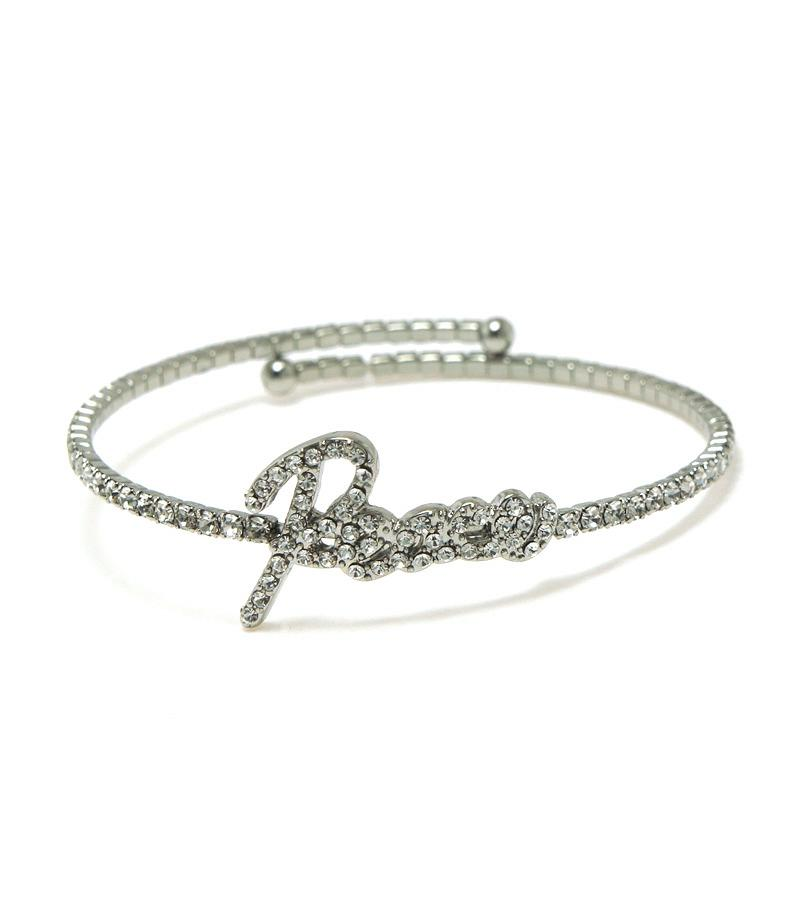 Single Row Pave Message Bracelet-Silver