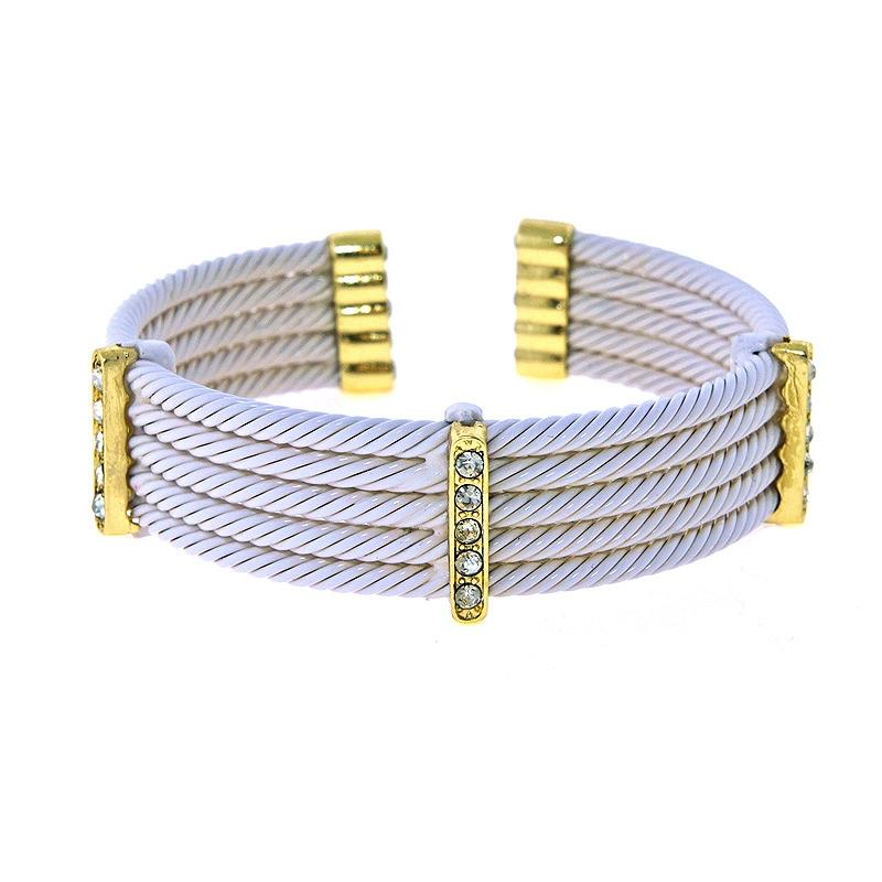 3 Gold Pave Twisted Bracelet
