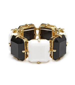 Gold Electroplated Stretch Bracelet - Black