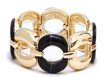 Oval Links Stretch Bracelet-Black