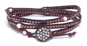 Crystals And A Locking Finish Wrap Bracelet - BROWN
