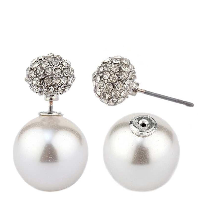 Classic Double sided peek-a-boo style pave ball and pearl earrings 633E0638