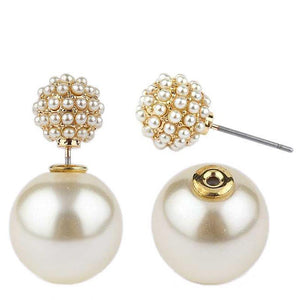 Classic Double sided Peekaboo style spherical pearl earrings pave all around with miniature pearls. 633E-0650